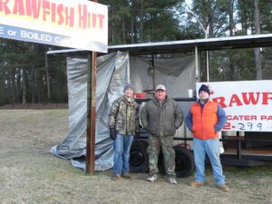 The Crawfish Hut crew (left to right): Colby Denton, David Elnore Sr., David Elnore Jr.