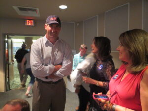 Todd Wade and his mom at the Oxford Conference Center after unofficial results were posted