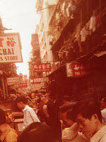 A crowded street, possibly Cat Street, in Hong Kong in 1972