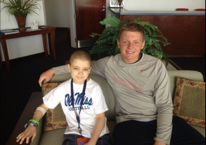 Chance Tetrick and Thomas Allen, Coach Allen's son, during Chance's June 21st visit. Photo courtesy of Coach Tom Allen